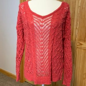 American Eagle Open Weave V-Neck Sweater